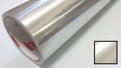 Fine Brush Silver Vinyl 24'' by 10yd Metallic Graphics Decal Sticker Film Roll