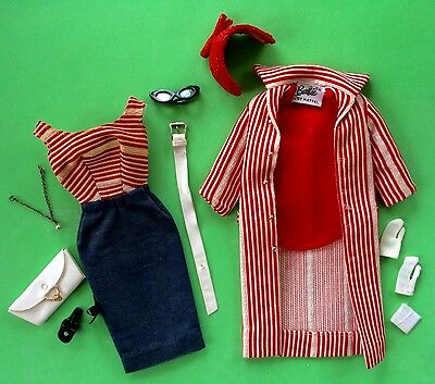 Vtg Barbie Roman Holiday #968 Ec+~Navy #1 Mules~Sewn Gloves~Hat~Necklace~Hanky