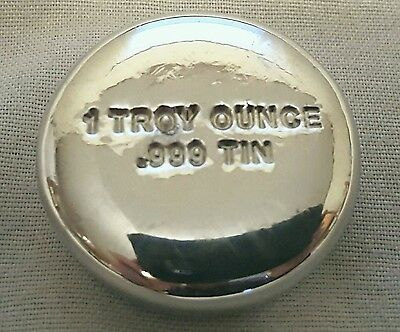 1 Troy Ounce .999 Fine Tin Bullion Round - Hand Poured - Hand Stamped