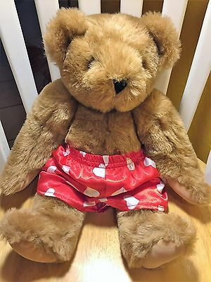 """VERMONT TEDDY BEAR Valentine with Red Heart Boxers 16"""""""