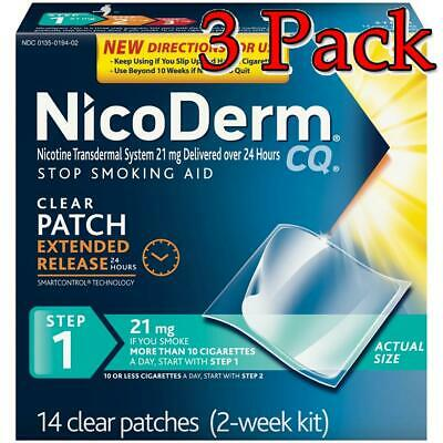 NicoDerm CQ Clear Nicotine Patches, Step 1, 21mg, 14ct, 3 Pack 307661420209A4037