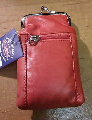Marshal's Red Colored Leather 100s Cigarette Case W/ Front Zippered Pocket