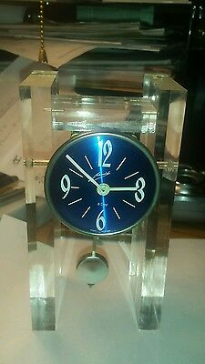 space age lucite schmid clock germany running wind-up 8 day