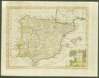 """1770 Original Antique Map """"SPAIN AND PORTUGAL"""" by T KITCHIN Hand coloured"""