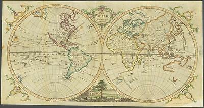 """1770 Original Antique Map """"THE WORLD"""" by T KITCHIN Hand coloured Hemispheres"""