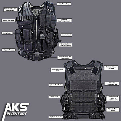 Tactical Military Vest Gear Swat Law Enforcement Special Forces Hunting Black
