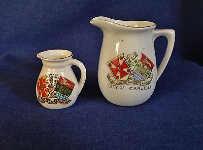 Crested China. Two City of Carlisle Jugs. One Arcadian. One Unmarked.