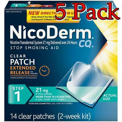 NicoDerm CQ Clear Nicotine Patches, Step 1, 21mg, 14ct, 5 Pack 307661420209A4037