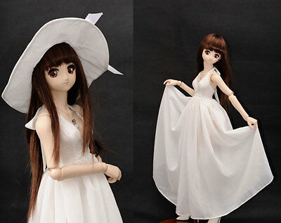 1/3 BJD dollfie dream doll outfit white dress & hat set DDL/DDdy ship US