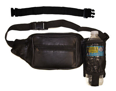 """Leather Men/Women Waist Net Bottle Fanny Pack Travel Pouch with 18"""" Extension"""