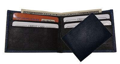 Genuine Leather Kids Thin Small Bifold Navy Blue Cute Mini Wallet New Gift Idea