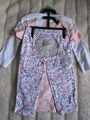 Nwt Carters 3 Piece Set Bodysuits Pants Elephant Pink Sweetest Girl Ev 18 Months