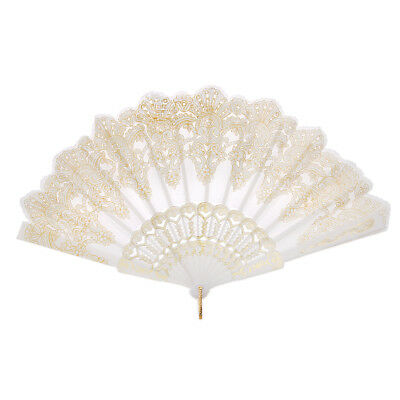 Rococo Wing Chun Folding Hand Held Fan for Wedding Dance Party Prom White