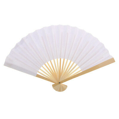DIY Craft Drawing Folding Hand Held Fan for Wedding Dance Party Prom White