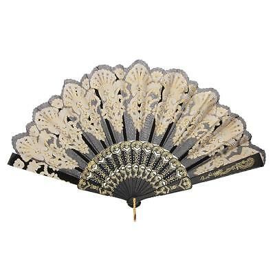 Rococo Retro Folding Hand Held Fan for Wedding Dance Party Prom Accs Black