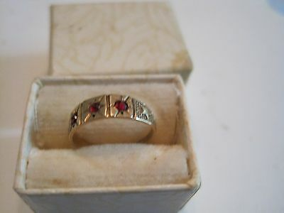 Antique / Vintage Victorian Baby Ring 14 Kt With Garnets...box Included