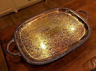 """Vintage Leonard EP Silver Footed Serving Tray Heavy has Handles 22 1/4"""" Long"""