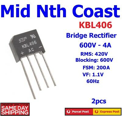 2pcs KBL406 Silicon Bridge Rectifier 600V - 4A RMS 420V KBL-406 2pcs