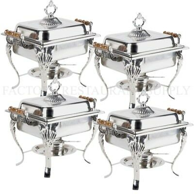 4 PACK Catering Classic STAINLESS STEEL Chafer Chafing Dish Set 4 QT Buffet Half