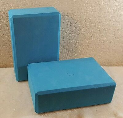 Lot of 2 Blue Yoga Block Foam Brick Exercise Fitness Stretching Aid Gym Pilates