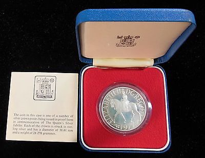 1977 GREAT BRITAIN UK - PROOF CROWN - 25 YRS. of REIGN - 1 Oz SILVER - BOX & COA