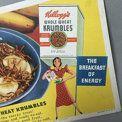 1940s Original Vintage KELLOGG'S Wheat Krumbles CEREAL Advertising Ink BLOTTER