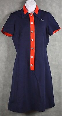 Vintage 60's David Crystal Lacoste Dress Button Down Blue/Red See Measurements