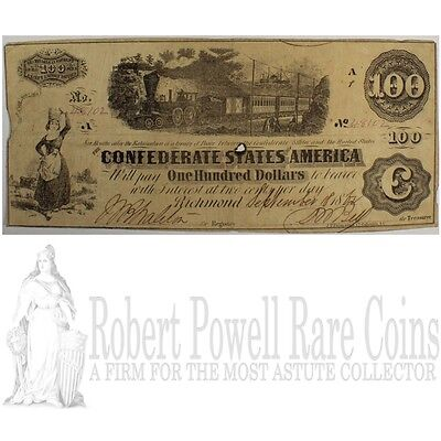 1862 T-40 $100 The Confederate States of America Note - CIVIL WAR Era w/ TRAIN