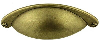 Antique Brass ~ Country Store BIN PULL CUP  ~ CABINET DRAWER HANDLE ~ by PLD
