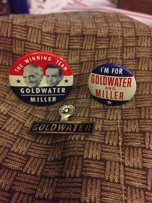 Lot of 3 Barry Goldwater & Bill Miller Presidential buttons.1964 campaign jugate