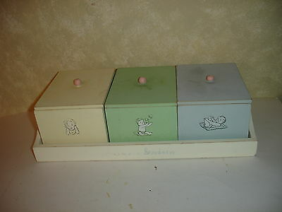 Vintage Wood Storage Boxes With Tray Baby  Made In The Philippines