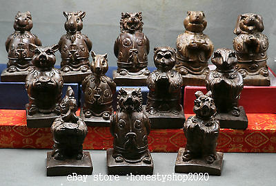 12pcs Collect China Natural Rosewood Carved Zodiac Year Animal Orcish Statue Set