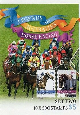 2007 STAMP BOOKLET LEGENDS AUSTRALIAN HORSE RACING (SET TWO) 10 x 50c STAMPS MUH