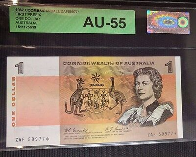 Commonwealth of Australia 1 Dollar Coombs Randall ZAF star note AU graded