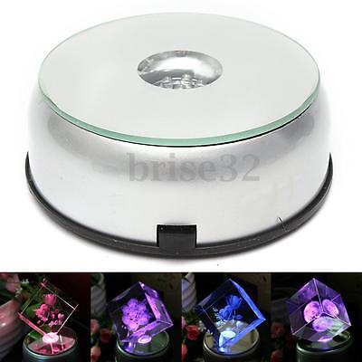 4'' 7 LED Colorful Light Unique Rotating 3D Crystal Display Base Stand AC Adapte