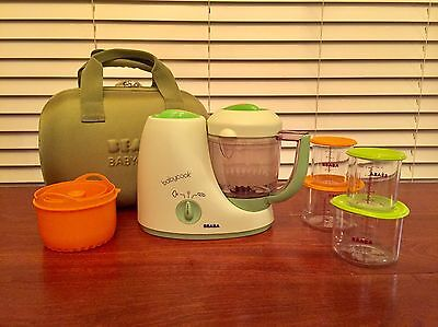 Beaba Babycook Baby Food Maker; travel case; rice cooker and storage containers