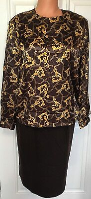 VTG Stirling Cooper Casual Corner Skirt Blouse Chain Brown Top Sz 10 Vintage