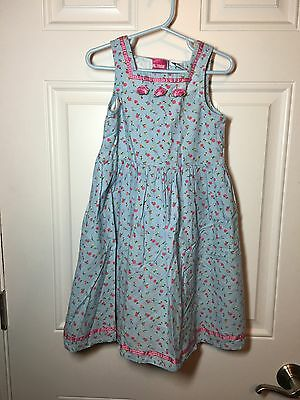 Girl Tribe Blue Pink Floral Dress Sz 5/6 Toddler Girl Roses