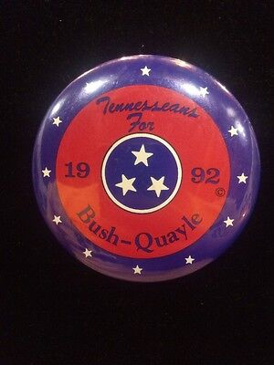 Tennesseans For Bush Quayle 1992 Election Button Tennessee Campaign