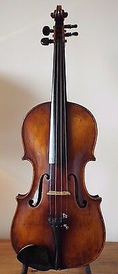 "OFFER for SUPERB  ANTIQUE  circa 19th  LABELLED VIOLIN - 4/4  LOB 14 1/8 "" CASED"