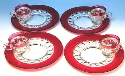 Ruby Flash Cranberry Kings Crown Thumbprint 8 piece Dinner Plate Snack Sets mint