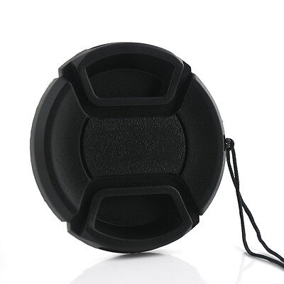 55mm Center Pinch Snap on Front Lens Cap Cover & String for Canon Nikon Sony