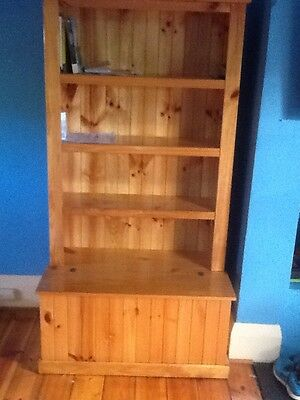 Solid Pine Bookcase With Storage Toy Box Clear Varnish