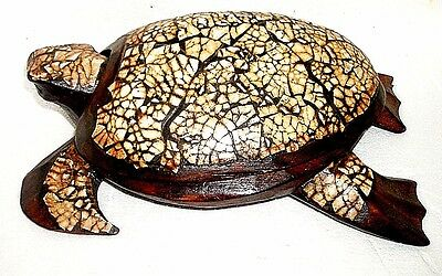 """9.5"""" Solid Wood Turtle Hand-Carved Jewelry Box"""