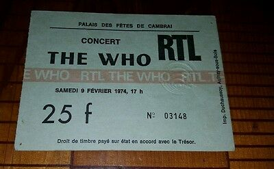 The Who RTL Ticket Stub From 1974 ORIGINAL