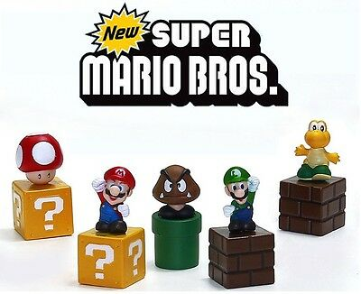 5 x Super Mario Bros Kids Birthday Party Toy Cake or Cupcake Decoration Topper