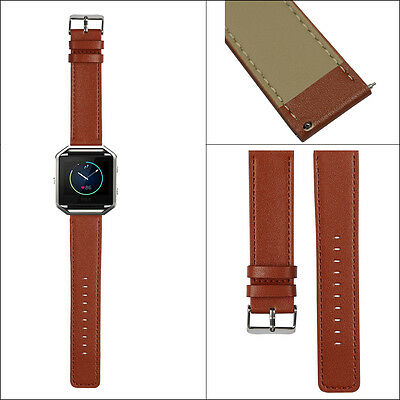 Replacement Genuine Leather Strap Watch Band for Fitbit Blaze Smart Watch- Brown