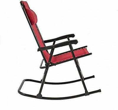 New Folding Rocking Chair Foldable Rocker Outdoor Patio Furniture Seat Red