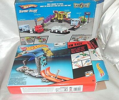 Hot Wheels Double Jump Duel, Seaport Village And Cars Bundle