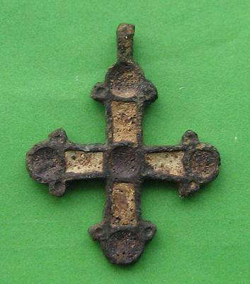 Ancient Viking Bronze Cross Pendant ENAMEL!!!